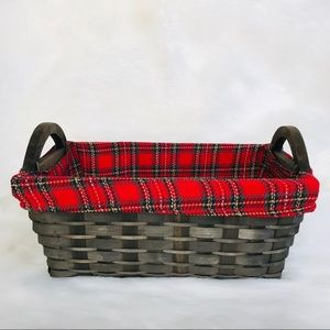 Home Decor Wicker Basket Brown Red Plaid